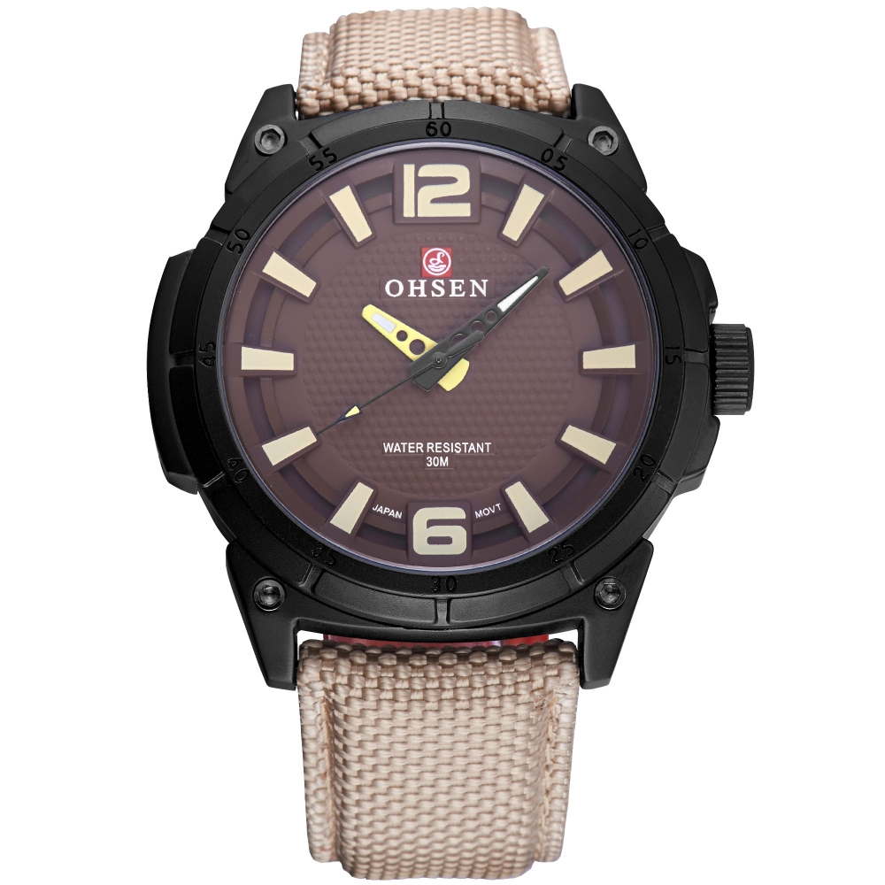 Casual OHSEN Brand Khaki Synthetic Leather Strap Band Quartz Hodinky Clock Sport Men Analog Outdoor Wristwatches Gift / OHS250