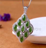 925 Sterling Silver Jasper Green HeTian Jade Beads Inlay Flower Design Lucky Pendant + Chain Necklace Charm Jewelry Girl's Gift