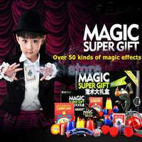 Magie Trick Set kit 50 Arten Magie Spielen mit DVD Lehr Professionelle Magie Prop Gimick Karte kinder magie geschenk Puzzle spielzeug