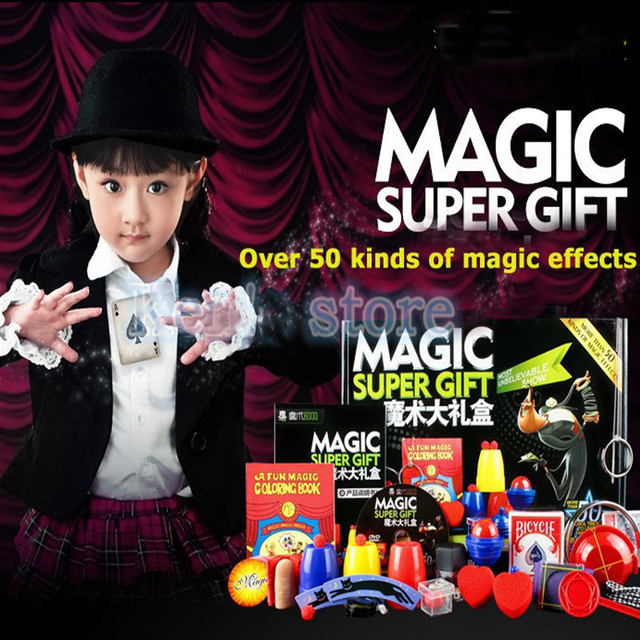 Magic Trick Set kit 50 Kinds Magic Play with DVD Teaching Professional Magie Prop Gimick Card children magic gift Puzzle Toy