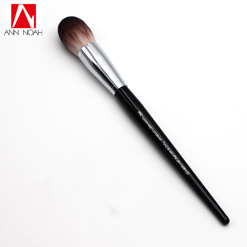 Professional Black Long Wood Handle Velvet Touch Feeling Synthetic Fiber 90 Pro Feather Weight Complexion Tapered