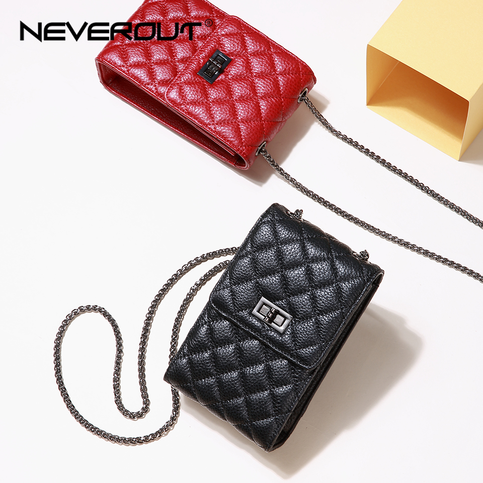 NEVEROUT Women Phone/Mini Bag Classic Diamond Lattice Genuine Leather Messenger Bag Red/Black Shoulder Sac Ladies Crossbody Bags все цены