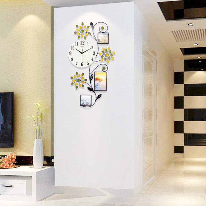 Flower Wall Clock Modern Design Large Led 3D Digital Wall Clock Kitchen Bedroom Home Clock With Photo Frame Farmhouse Decor