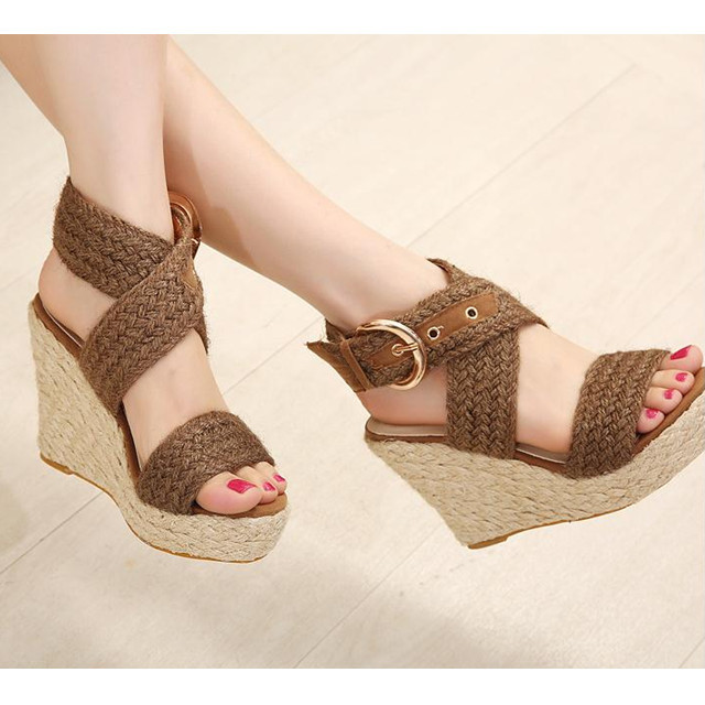 quality design the sale of shoes 50% price 2015 Bohemia Summer Jute Cute High Heels Sandals For Women Cross ...