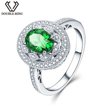 Created Emerald Rings set with Zircon in 925 Sterling Silver 1.89ct Green Oval Gemstone Rings for Women Engagement Anniversary