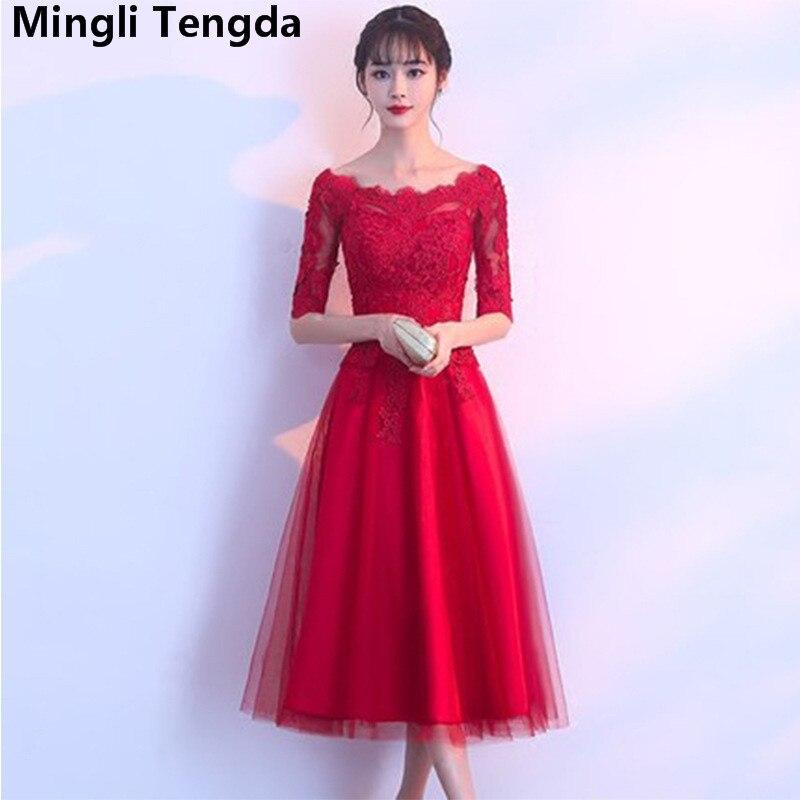 Mingli Tengda Red Elegant   Bridesmaid     Dresses   Short Lace   Bridesmaid     Dress   A Line Off the Shoulder   Dress   robe demoiselle d'honneur