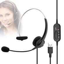 Usb Oortelefoon Handsfree Hoofdtelefoon Met Mic Headset Noise Cancelling Verstelbare Call Voor Gaming Headset Computer Business Gamer