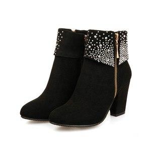Image 3 - Nouvelles chaussures de mode femmes bottes automne hiver strass cristal épais carré troupeau cheville fermeture éclair bottes chaudes bout rond chaussures