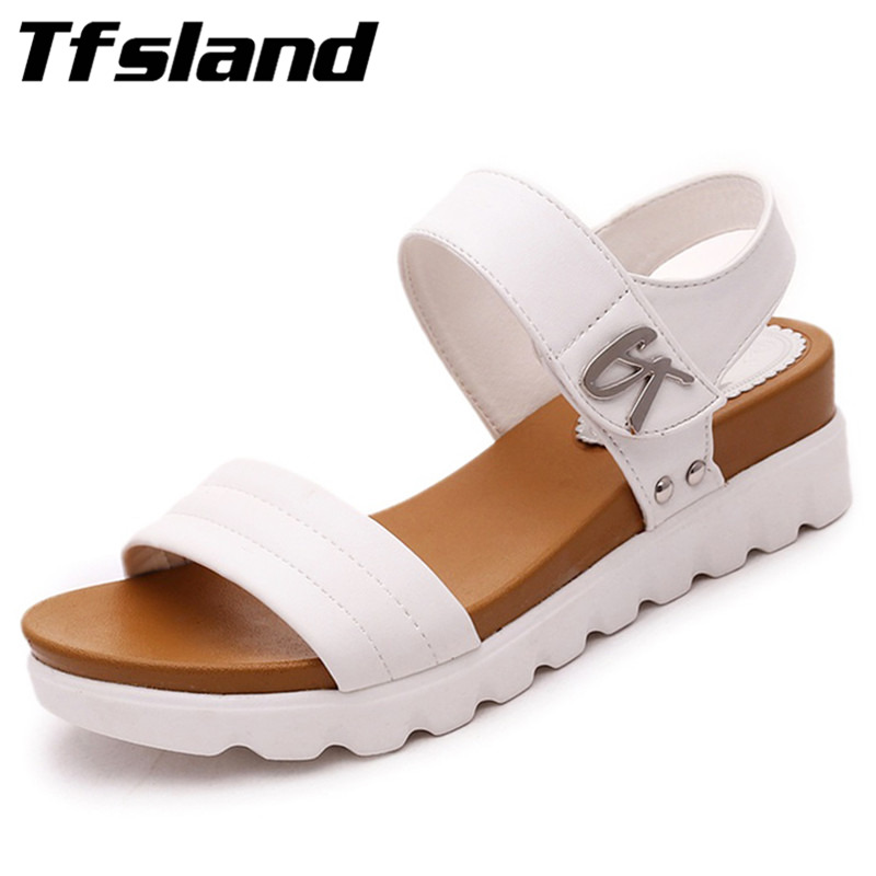 Tfsland Summer Women Soft Thick Soled Sandals Female Slip Leather Flat Sneakers All-match Muffin Tide Comfortable Walking Shoes
