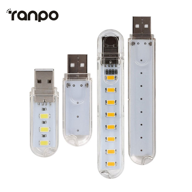 USB LED Light Lamp 3LED 8Leds Keychain 5V SMD 5730 Night light Camping lamp For Reading Bulb Laptops Computer Notebook Mobile