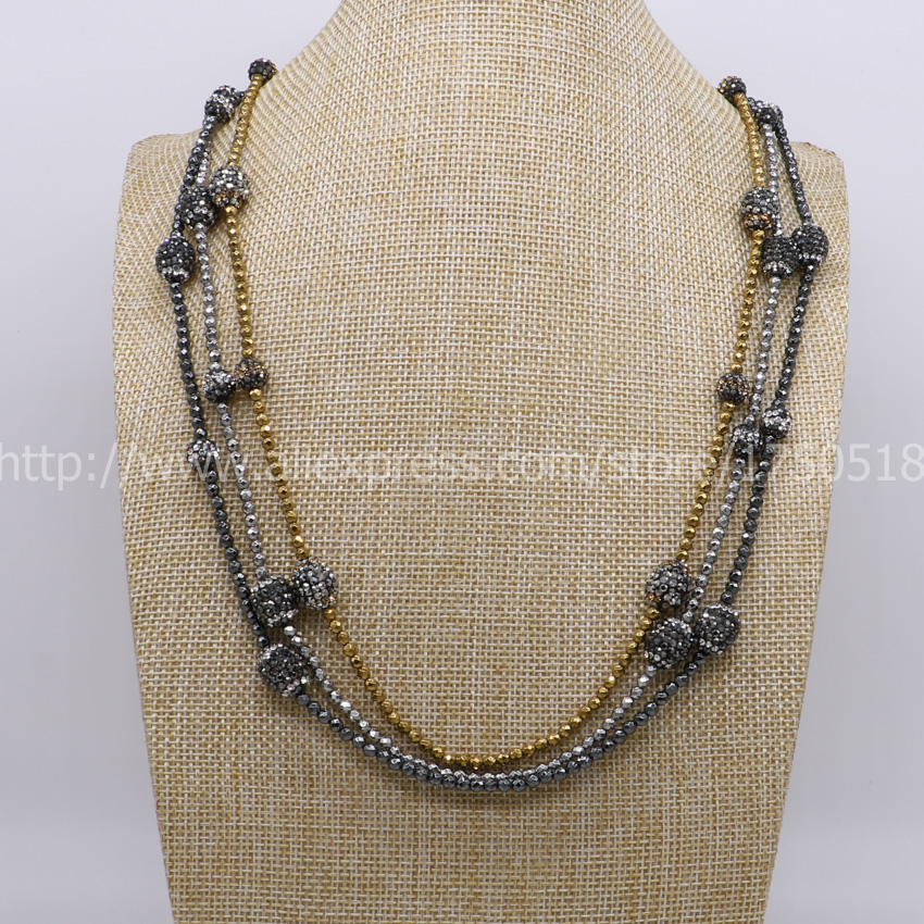 Hot Handcrafted hematite necklace natural beads chain mix color with rhinestone beads wholesale Gems jewelry for