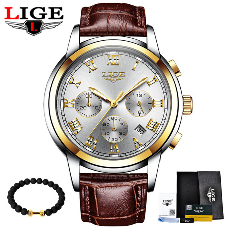 2017 LIGE Men's Fashion Business Watches Men Quartz Analog Clock Man Leather Military Waterproof Watch Relogio Masculino classic fashion business designer men dress watches imported quartz calendar analog clock waterproof real leather relojes nw4233