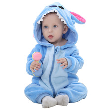 Cute Infant Romper Baby Boys Girls Jumpsuit Newborn Clothes Hooded Toddler Pajamas Clothes Cartoon Stitch Rompers Baby Sleepwear недорого