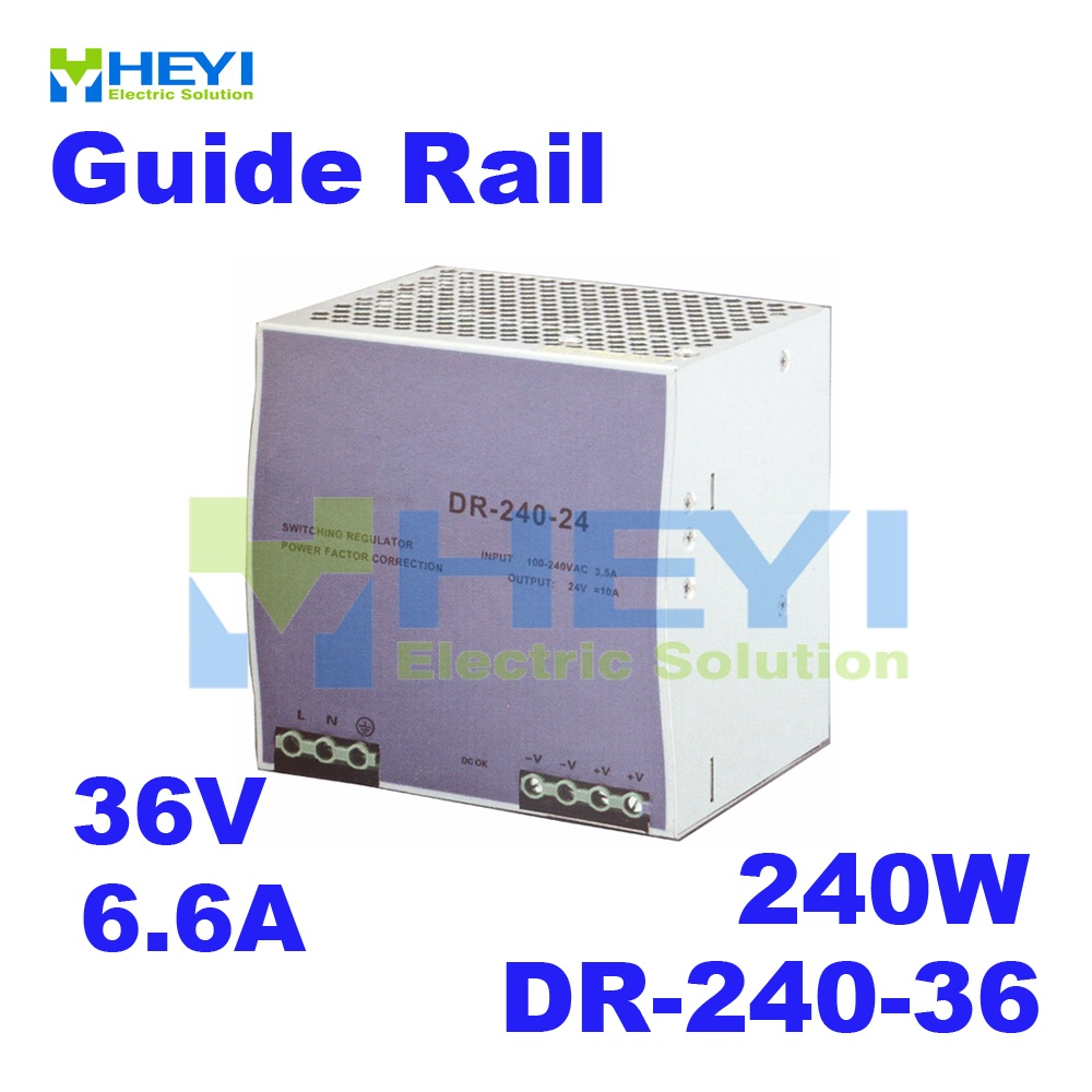single output switching 36V 6 6A 240W voltage converrter DR 240 36 din rail power supply