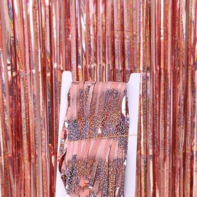 2 м 3 м 4 М Металлическая бахрома из фольги мерцающий фон свадебная вечеринка украшение стены фото стенд фон мишура блестящие занавески золото - Цвет: laser rose gold