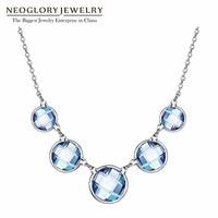 Neoglory Màu Xanh Pha Lê Áo Chain Chokers Vòng Crystals Necklaces Collar & Mặt Dây 2018 Thời Trang Hợp Thời Trang Trang Sức Cưới MS