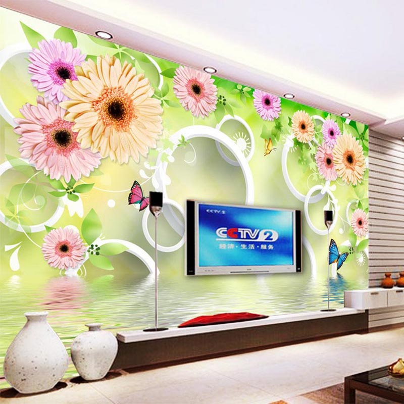 Custom Photo Wallpaper Living Room Bedroom Backdrop Wall Decor Modern 3D Colorful Flowers Circle Murals Papel De Parede Floral modern simple yellow flowers pearl photo wallpaper murals living room backdrop wall paper home decor papel de parede 3d paisagem