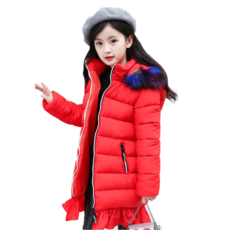 Girls Mermaid Jackets & Coats New 2018 Arrivals Fashion Fur Hooded Thick Warm Parka Down Kids Clothes Cotton Girl's Outwear new winter baby girls clothes white duck down parka warm goose down jackets for kid warm long coats big fur hooded for children