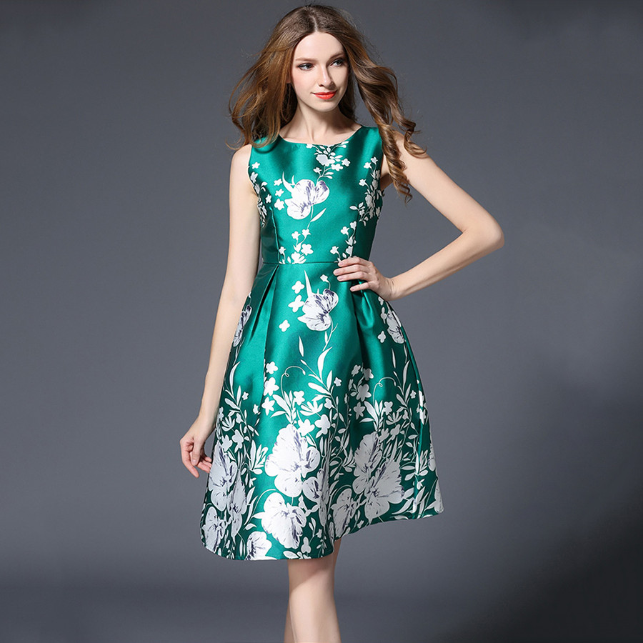 Vintage High Heeled Shoes Print Party Dresses Women Sleeveless ...