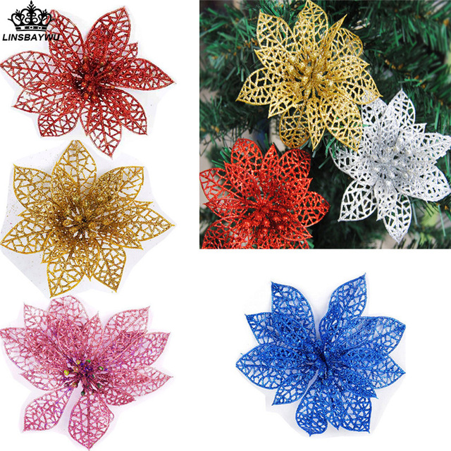 christmas flowers christmas decorations fpr tree glitter hollow wedding party garden decor