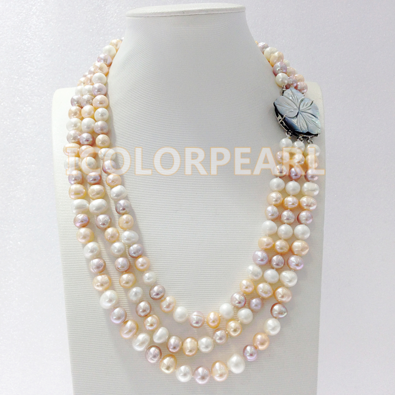 Three-row 8-9mm Real Natural Potato Shaped White,Pink,Purple Freshwater Pearl Necklace With A Flower Shell Clasp globe shaped aluminum shell precise compass