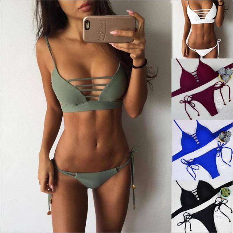 Biquinis Bademode 2019 Frauen Bikini Set aushöhlen Badeanzug Gepolsterte Monokini Halter Tanga Bikinis Trkinis maillot de bain Femme