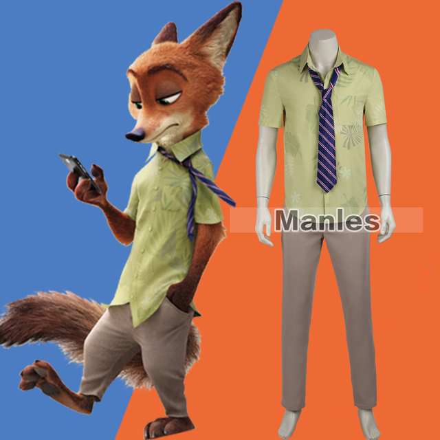 Zootopia Costume Nick Wilde Cosplay Costume Adult Men T-shirt Fox Cosplay Uniform Movie Costume Halloween Full Set Custom Made