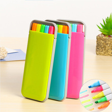 5pc/lot Candy Color Highlighter Marker Pens Set With Pen Box Kawaii Kids Fluorescent Novelty Gift School Supplies Stationery