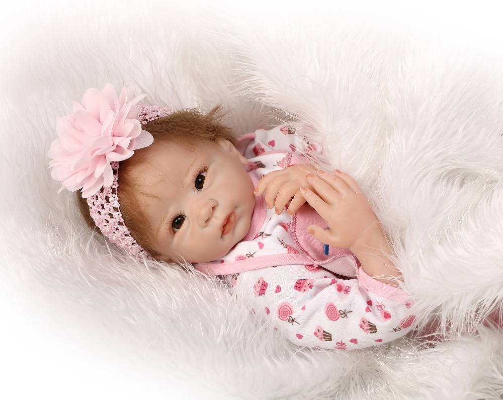 55cm Baby smile Dolls Silicone Reborn Baby Doll Kid s Accompany Toys girl Toys Movie Photography