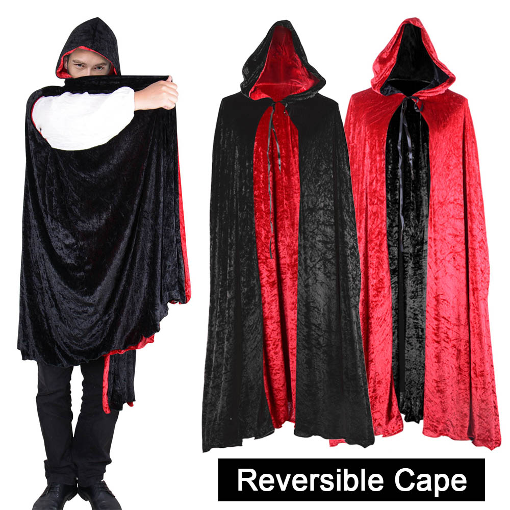 Black /& Purple Dracula Vampire Witch Cape Wizard Reversible Halloween Cloak