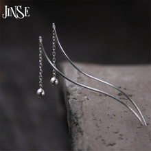 цена на JINSE Vintage Long Chain Women Drop Earrings Fashion Round Pendant Charms Dangle Earring Made With S925 Pure Silver Lady Jewelry