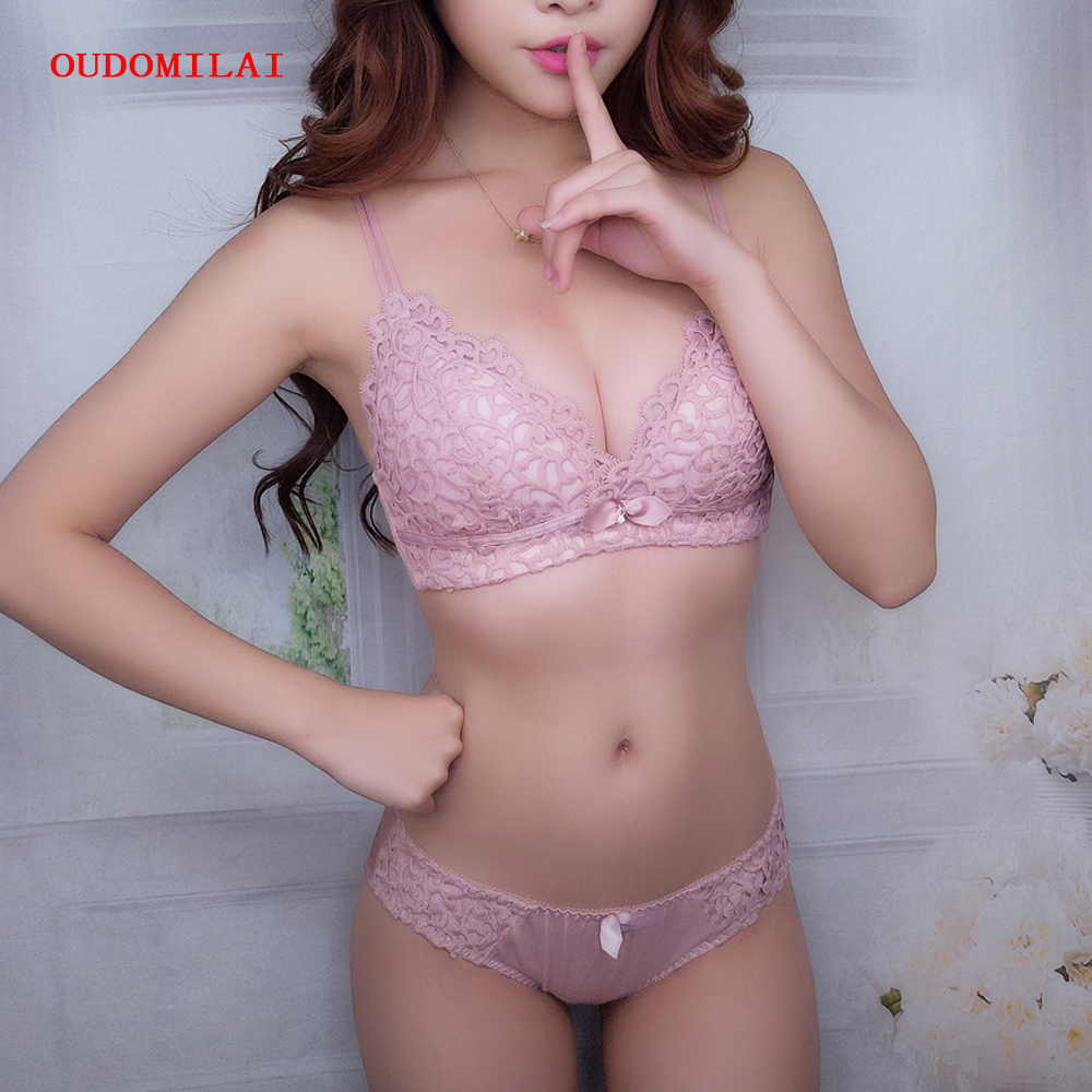 b95d9ea5171 OUDOMILAI Brand Japanese Lingerie Luxury Push Up Bra Set Lolita Hollow  Embroidery B C Cup Small Chest Girls Women Underwear Set-in Bra & Brief Sets  from ...
