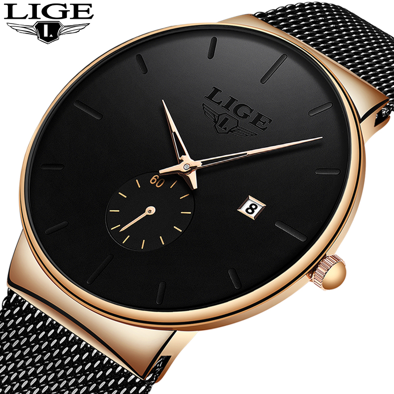 LIGE Fashion Quartz Wristwatch Mens Watches Top Brand Luxury Waterproof Clock Male Ultra-Thin Mesh Belt Watch Relogio Masculino