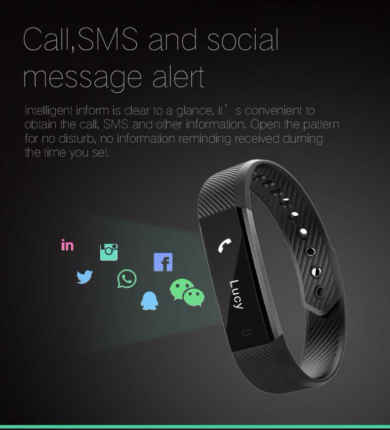 Fentorn ID115 Sports Smart band call message reminder Steps calorie activities Fitness Tracker Wristband Bracelet for smartphone 4