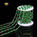 5 Метр 6 мм Гладкие Круглого Нефрита Бисером Цепочки Поставок, Green Jade Малайзии в Бронзовая Покрытием Проволокой Завернутые Разъем ожерелье HX031
