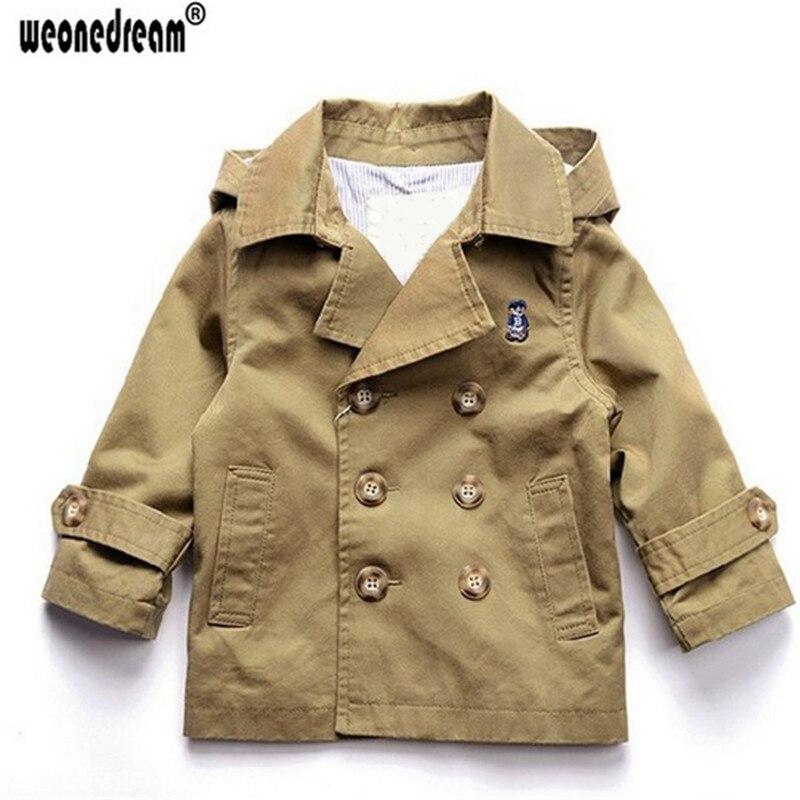 WEONEDREAM Outerwear Trench-Coat Boys Kids Windbreaker Long-Sleeves Khaki Double-Breasted