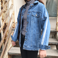 2019 Basic Coats Denim Jacket Spring Denim Jackets For Women Jeans Jacket Female Both Striped Denim Coat loose fit casual style