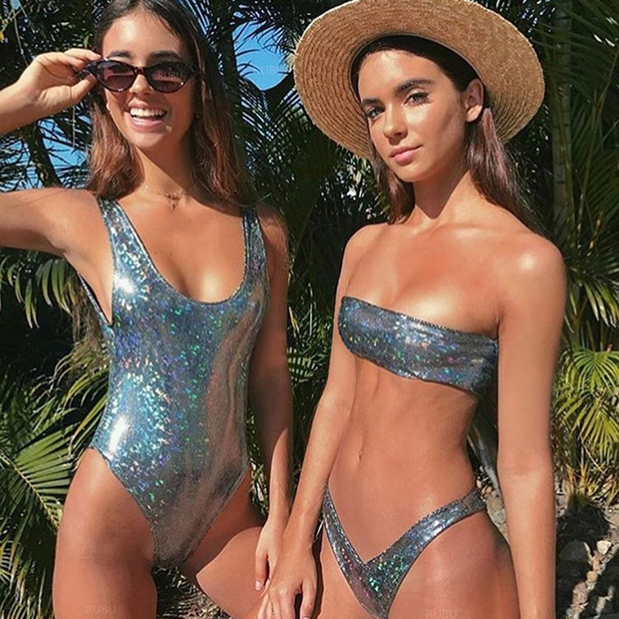 2019 New Off Shoulder Leather Sequins New Bikini Sets Black Vintage Low Waist Swimwear Snakeskin Style Sexy Novelty Swimsuit