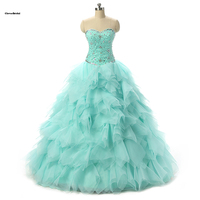 Fotos reales con cuentas de tulle del amor de aqua vestido de quinceanera 2016 vestidos baratos coral personalizar listo para enviar