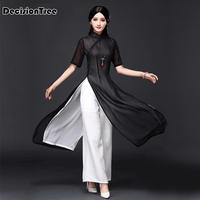 2019 new vietnam aodai chinese traditional dress chinese dress qipao long chinese cheongsam dress robe chinoise modern cheongsam