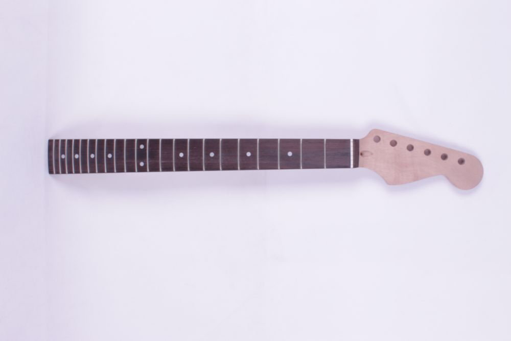 One electric guitar neck mahogany wood made and Rosewood fingerboard black color 24 frets holt on one electric guitar neck mahogany wood and rosewood fingerboard 171
