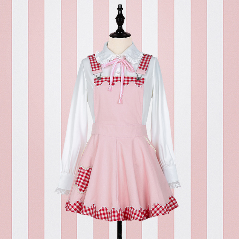 Suspender Plaid Women Dress Soft Sister Kawaii Cute Overalls
