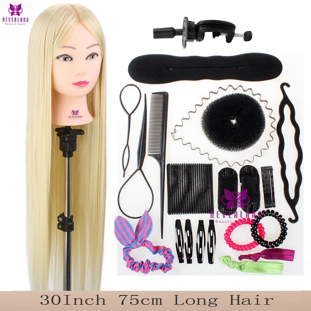 """30"""" 75CM White 100% Synthetic Fiber Hair Hairdressing Training Head Cosmetology Mannequin Head For College + Braid Tool Set"""