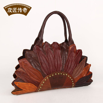 Genuine Leather Women's handbag cross-body rivet  punk fashion vintage bag fashion 1204101