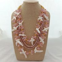 19'' 4 Strands White Cross Pearl Purple Pearl Pink Crystal Necklace