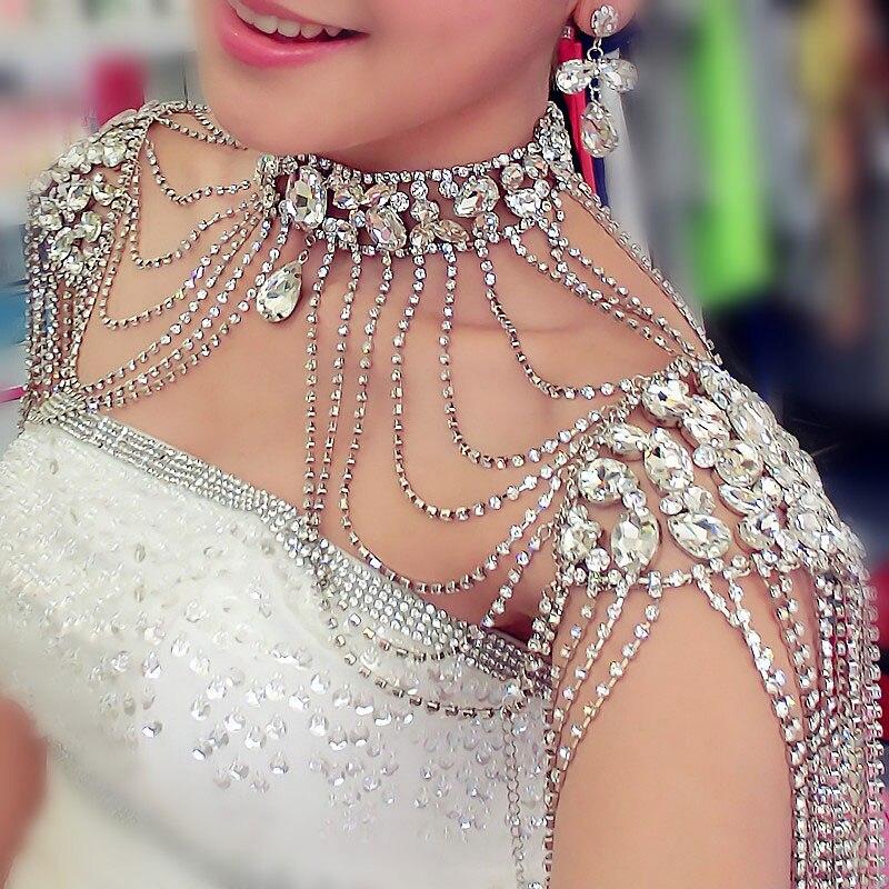 Jonnafe Strass Cristal À La Main De Mariée Épaule Collier Perle Femmes Pageant De Bal De Mariage Épaule Bijoux colliers de chaîne