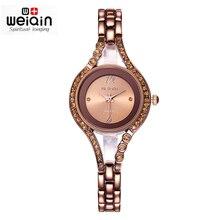 WEIQIN Mujeres de la Marca de Moda Relojes Analógico Resistente A los Golpes de Café de Plata Crystal Rhinestone Señoras Reloj Pulsera relojes mujer