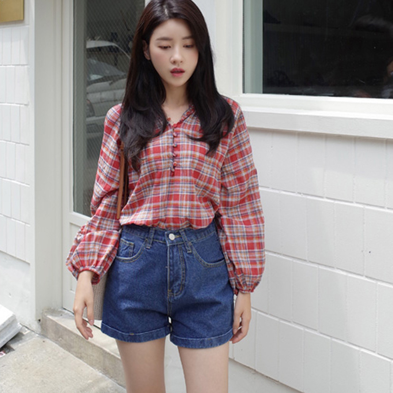 681a78fefc6d9 Red Plaid Shirt Women Clothes 2018 Long Sleeve O-Neck New Button Womens Tops  Ladies Shirts And Blouses Korean Fashion Clothing
