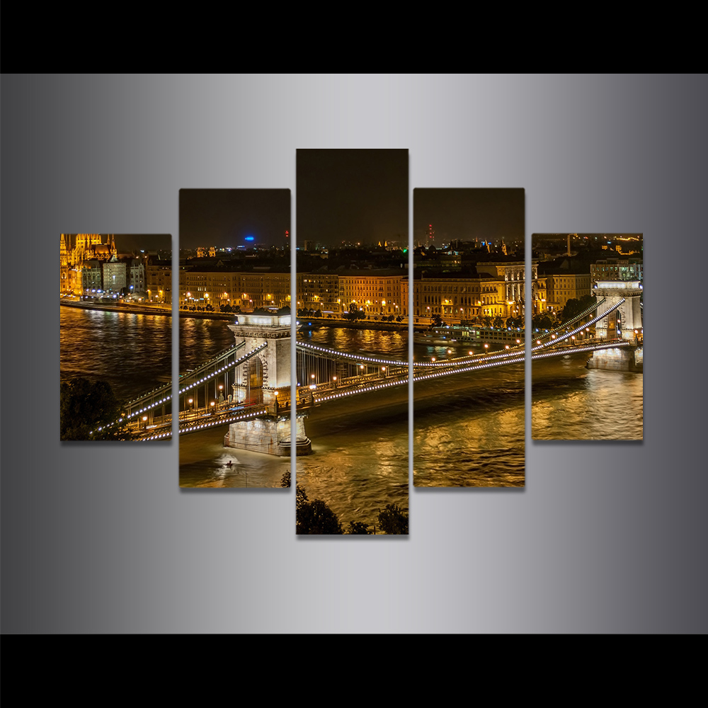 Unframed Canvas Painting Szechenyi Chain Bridge Night View Picture Prints Wall Picture For Living Room Wall Art Decoration