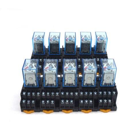 10 pcs rele my4nj 24 v dc pequeno 5a 14pin bobina dpdt com soquete base